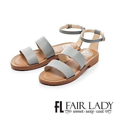 Fair Lady Soft Power軟實力 時髦寬版繫帶平底涼鞋 藍
