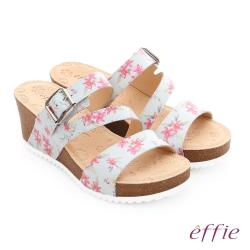 effie 嬉皮假期 真皮彩色繽紛印花厚底涼拖鞋 粉紅色