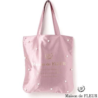 Maison de FLEUR 光澤感珍珠手提包