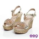 ee9 完美晶瑩~水晶珊瑚鑲鑽真皮魚口楔型涼鞋~亮眼金