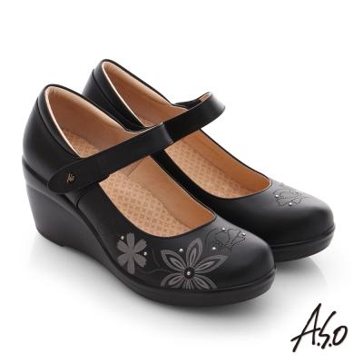 A.S.O 舒活寬楦 真皮圖騰楔型高跟鞋 黑色