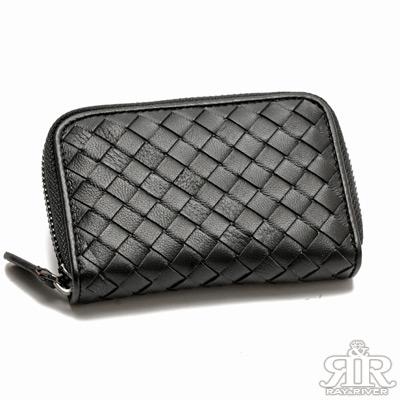 2R 加賀印象Kaga羊皮編織零錢萬用包 百搭黑
