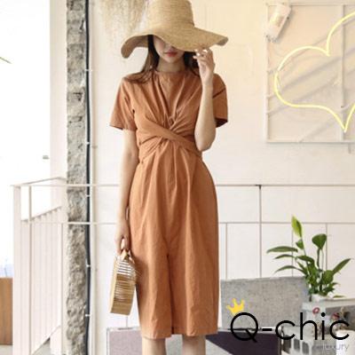 正韓 立體交叉收腰綁帶短袖洋裝 (共二色)-Q-chic