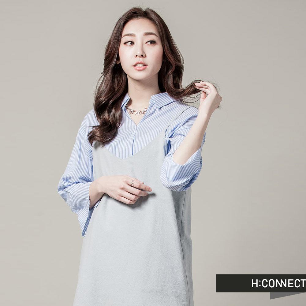 H:CONNECT 韓國品牌 女裝 - 細肩帶純色側開衩背心裙-藍(快)
