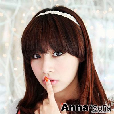 AnnaSofia-花編線鏈珠-彈性細髮帶-白系