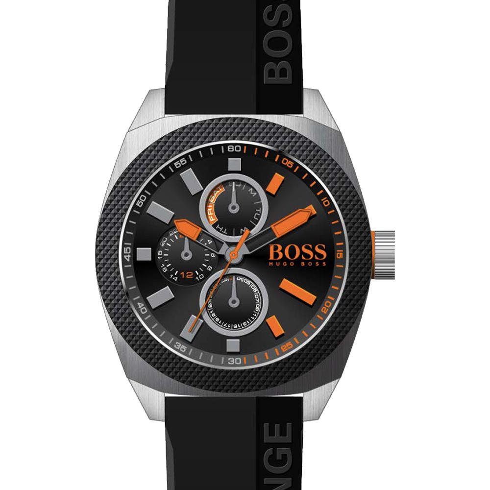 Hugo Boss 運動競賽三眼日曆腕錶-黑/48mm