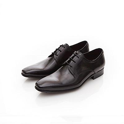 ALLEGREZZA-真皮男鞋-重返時尚-素面綁帶尖方頭皮鞋  黑色