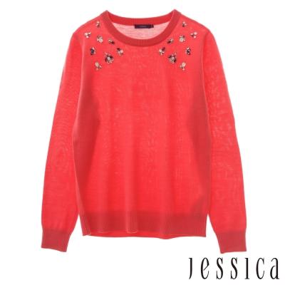 JESSICA-柔棉素面珠飾造型上衣(紅)