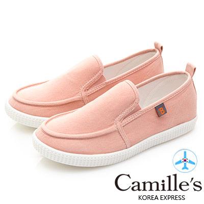 Camille's 韓國空運-正韓製-馬卡龍色帆布懶人休閒鞋-粉紅