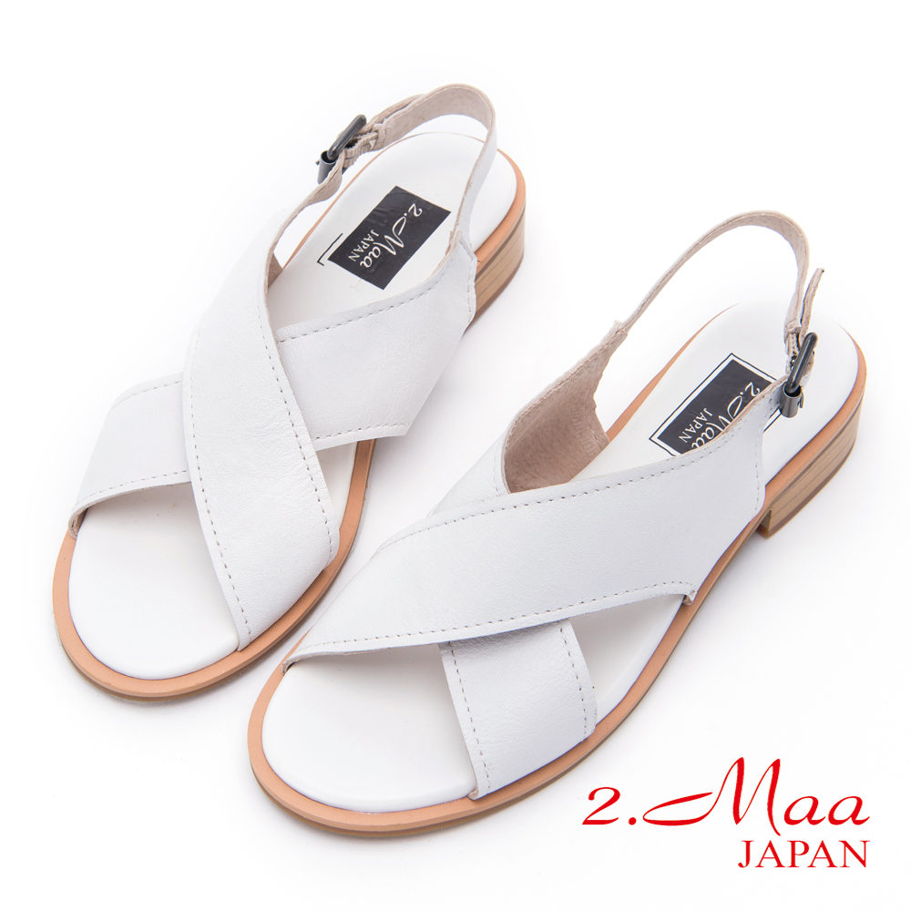 2.Maa - 低調單色羊皮交叉釦環涼鞋 - 白