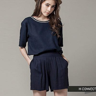 H:CONNECT 韓國品牌 女裝-雙色混紗細摺短褲-藍(快)