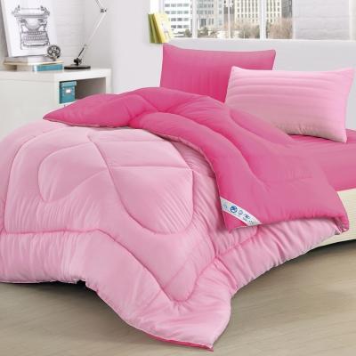 精靈工廠 吸濕排汗防蹣抑菌1.3KG雙色羽絲絨被6x7呎-蜜桃紅+甜心粉