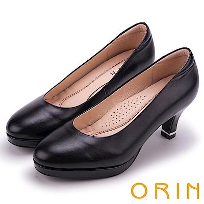 ORIN 率性簡約時尚 嚴選羊皮質感素面高跟鞋-黑色
