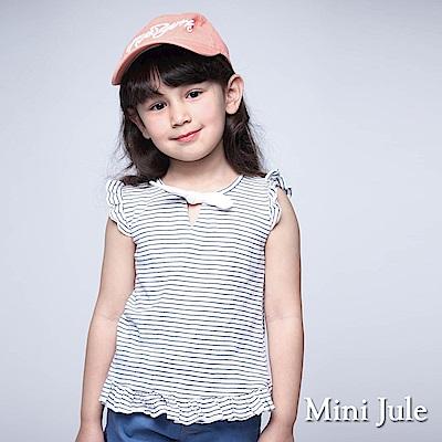 Mini Jule 童裝-上衣 綁結荷葉邊條紋短袖上衣(藍)