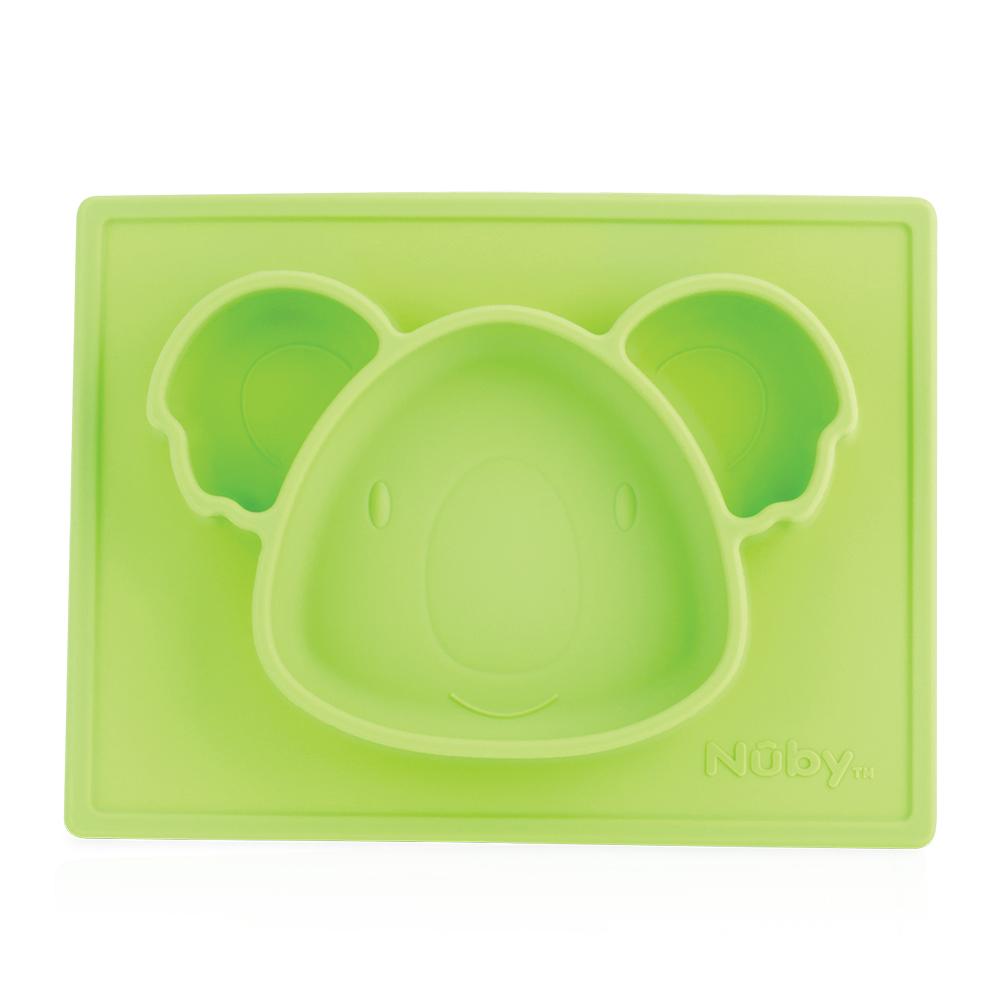 Nuby 動物矽膠餐盤-無尾熊綠(6M+)