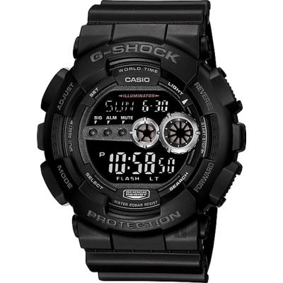 CASIO卡西歐 G-SHOCK 高亮度LED運動錶-黑/55mm