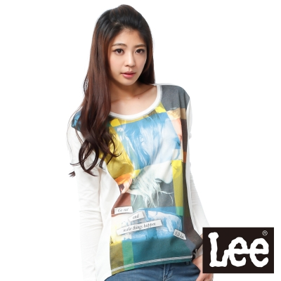 Lee 長袖T恤 布料拼接-女款(米白)