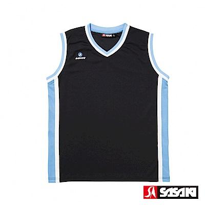 SASAKI 雙面穿長效性吸排V領籃球背心-男-黑/鮮藍(寬肩版)