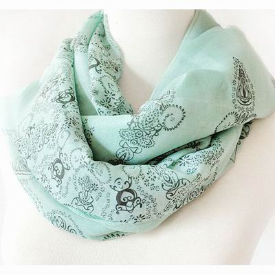 【Decoy】復古青花瓷*雪紡仿真絲圍巾/綠