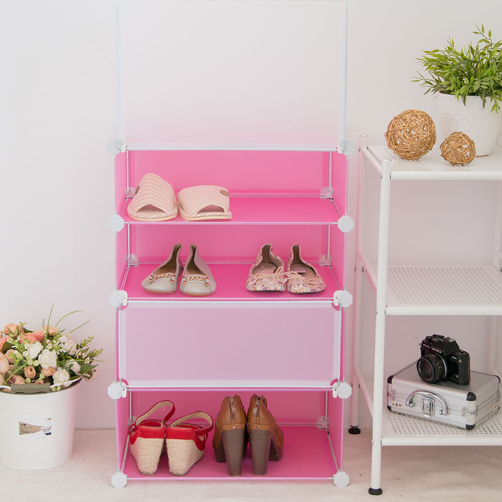 IKLOO宜酷屋_輕巧多變四層防塵鞋櫃-粉色