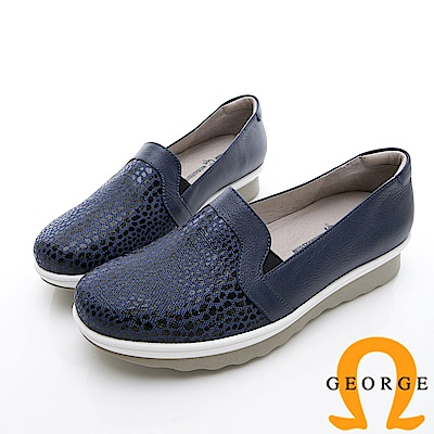 GEORGE 喬治-時尚豹紋雙色厚底包鞋休閒鞋-寶藍
