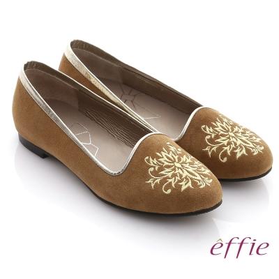 effie 舒適樂福 絨面羊皮刺繡圖紋平底鞋 棕