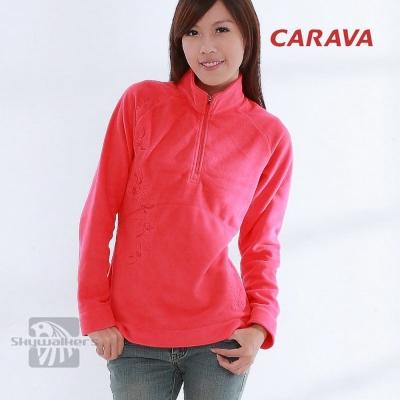 CARAVA-女款高領刷毛-櫻紅