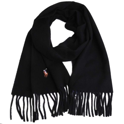 RALPH LAUREN POLO 彩色小馬刺繡LOGO素面義大利製羊毛圍巾(黑)