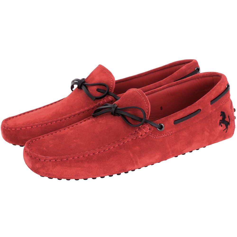 TOD'S FOR FERRARI GOMMINO 麂皮豆豆休閒鞋(紅色)