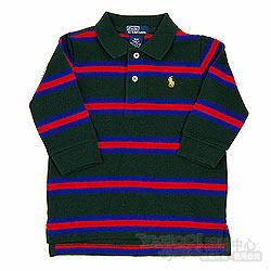 Ralph Lauren深綠/桃紅/藍橫條長袖POLO衫