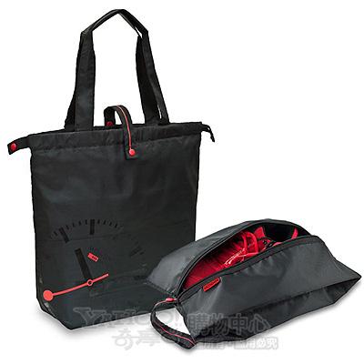Mondaine 瑞士國鐵尼龍摺疊肩背包+收納袋