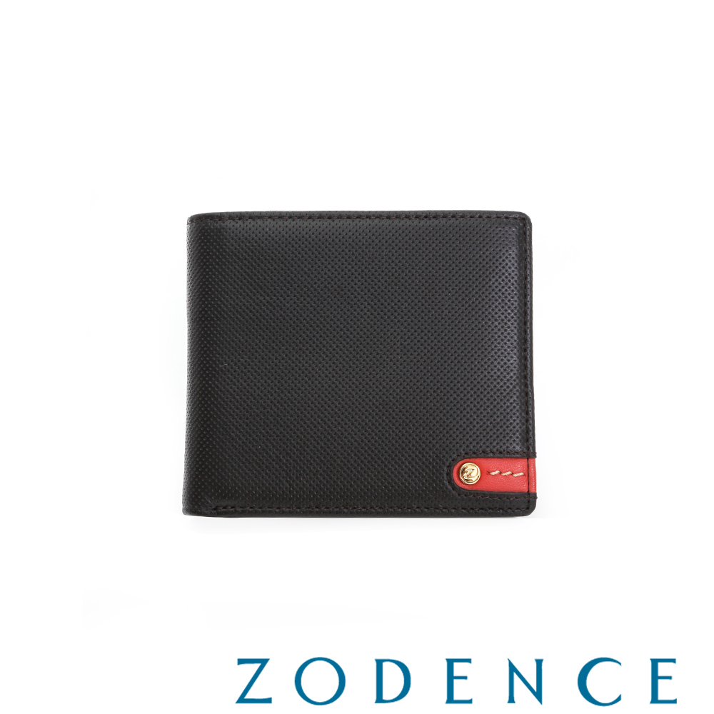 ZODENCE MAN 義大利牛皮系列紅底配色LOGO拉鍊零錢袋短夾 咖