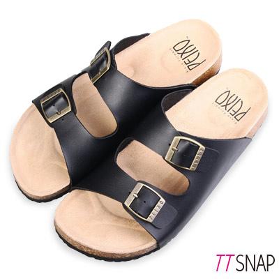 TTSNAP涼拖鞋-MIT真皮整體包覆足弓休閒涼拖鞋 黑