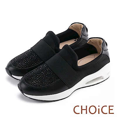 CHOiCE 中性休閒 牛皮拼接布料燙鑽舒適氣墊休閒鞋-黑色