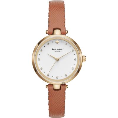Kate Spade HOLLAND 潮流甜心晶鑽手錶-白x咖啡色錶帶/34mm