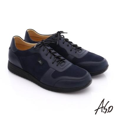 A.S.O 輕量抗震 牛皮拼接綁帶氣墊休閒鞋 藍