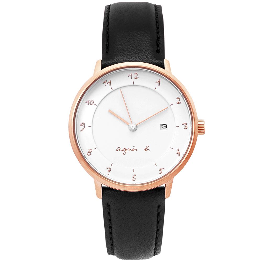 agnes b.簡約手繪時標時尚手錶(B4A001J1)-白X玫瑰金框/33mm