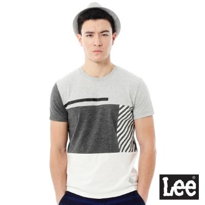 Lee 圓領色塊拼接短袖T恤-男款-灰