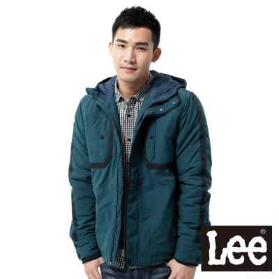 Lee-羽絨外套-連帽連身防風鋪棉-男款-藍綠