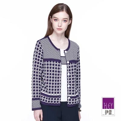 ILEY伊蕾 幾何圖型假兩件式針織(黑/紫)