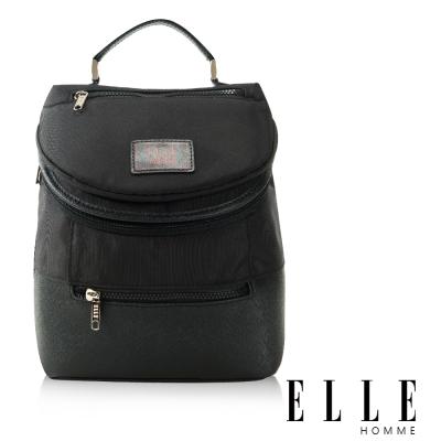 福利品 ELLE HOMME 法式精品可置入IPAD立體圓筒大容量側背包-黑色