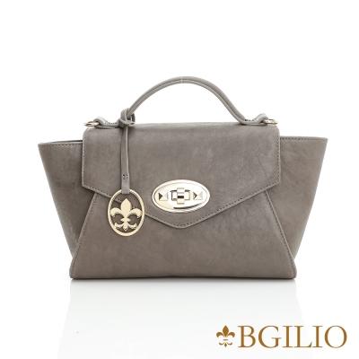 義大利BGilio - 水洗羊皮知性簡約手提包-灰色 1950.004B-19