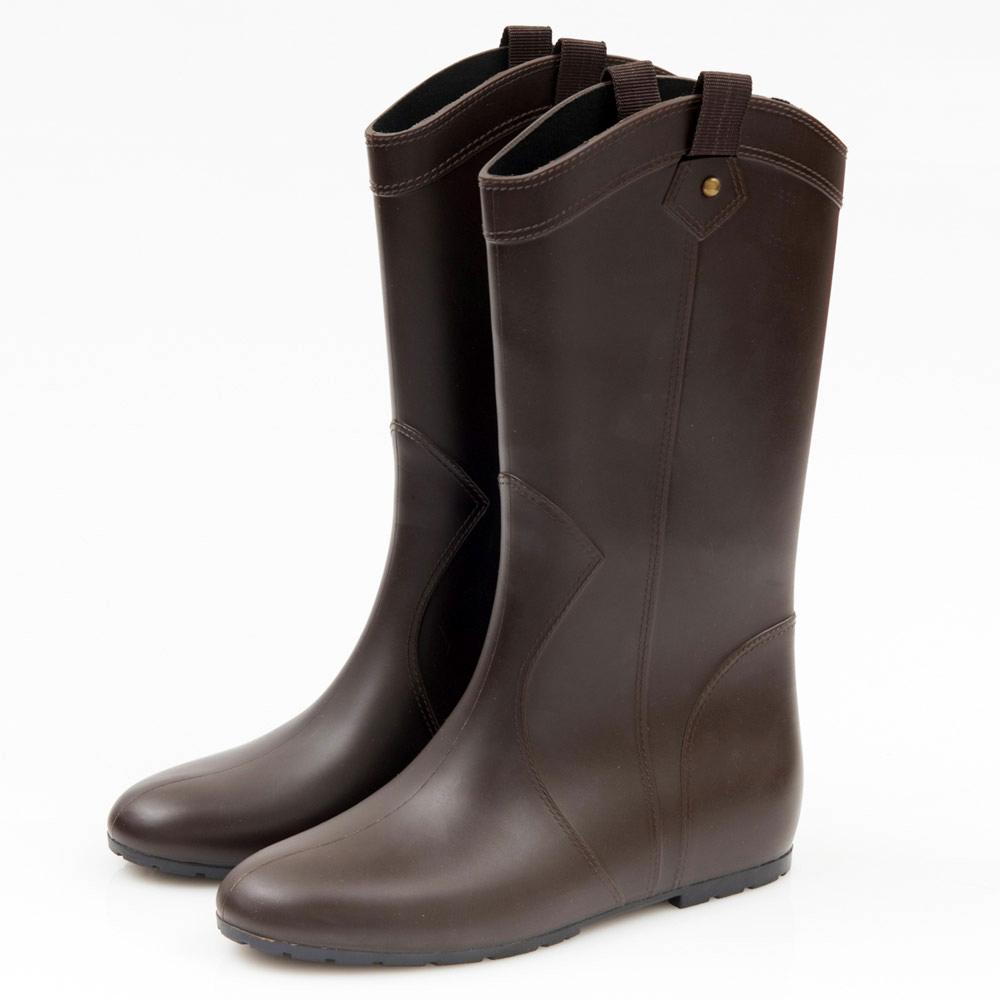 G.Ms. 織帶鉚釘心機內增高中筒雨靴-咖啡色