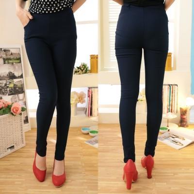 La Belleza側口袋腰鬆緊腰挺版修飾窄管褲(卡其,灰,深藍)