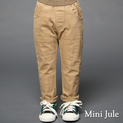 Mini Jule 童裝-長褲 大格子口袋鬆緊長褲(駝)