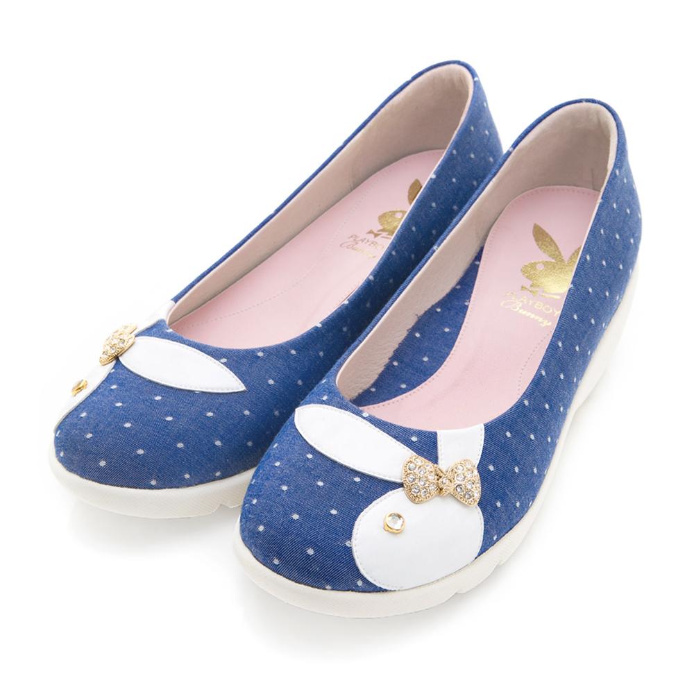 PLAYBOY 俏皮圓點 GOPLAY帆布厚底娃娃鞋-藍