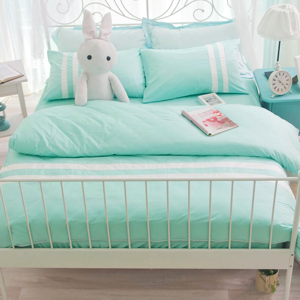 OLIVIA  湖水綠  白  雙人兩用被套床包四件組 素色無印