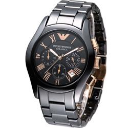 ARMANI 經典陶瓷計時腕錶-黑x玫瑰金時標/42mm