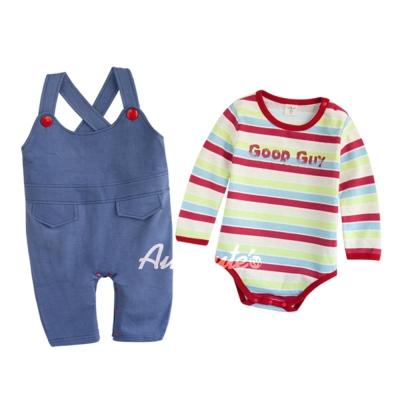 baby童衣-寶寶包屁衣連身衣-條紋衣和仿牛仔藍吊帶褲-二件套37001