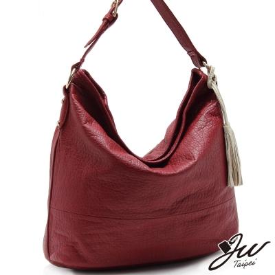JW極致柔軟水洗流蘇大容量肩背包-共四色-豔唇紅